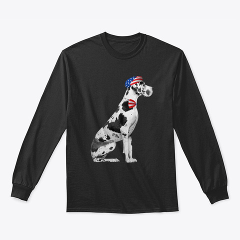 Great Dane American Patriotic Dog Black T-Shirt Front