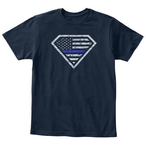 Real Superheroes Bleed Blue! *Kids* New Navy T-Shirt Front