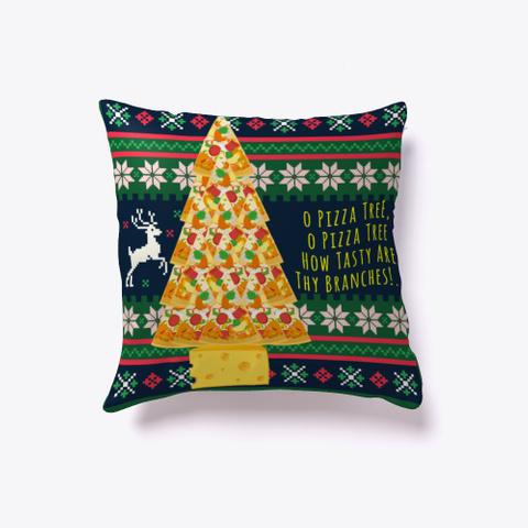 O Pizza Tree Ugly Christmas Home Decor Dark Green T-Shirt Front