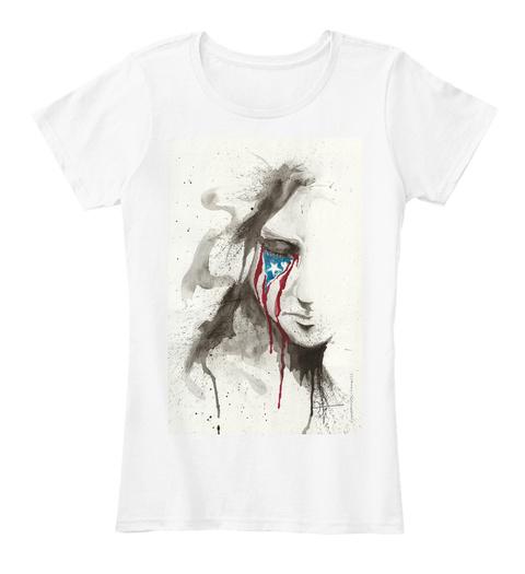 La Borinqueña Llora   Tee   Women White T-Shirt Front
