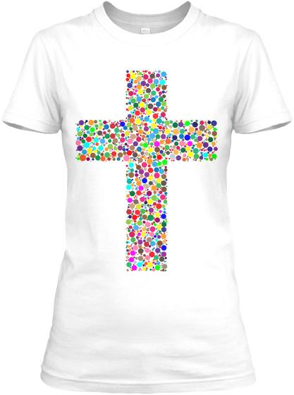 Colorful Cross Christian Women's Tee White Women's T-Shirt Front