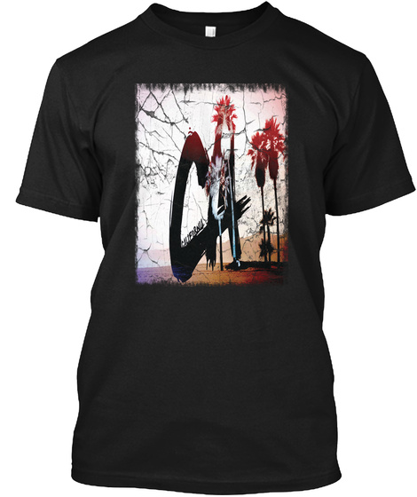 Cool California Beach And Palms Black T-Shirt Front