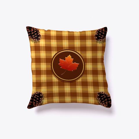 Gingham Autumn Oak  Throw Pillow Black T-Shirt Front