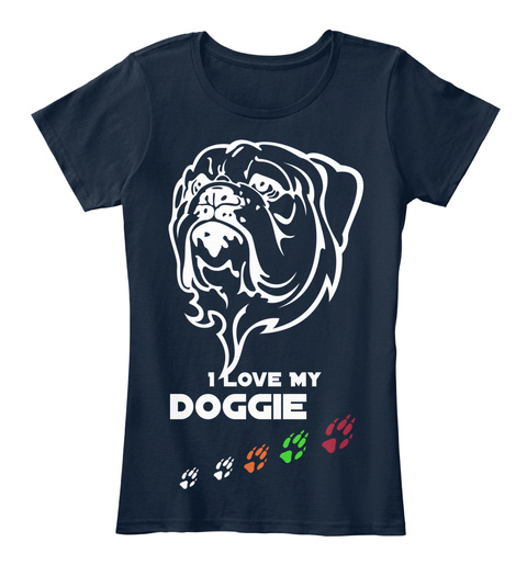 I Love My  Doggie New Navy Women's T-Shirt Front