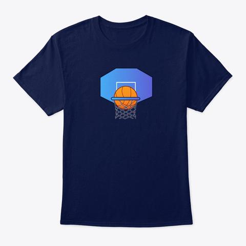Basketball Hoop Score Navy T-Shirt Front