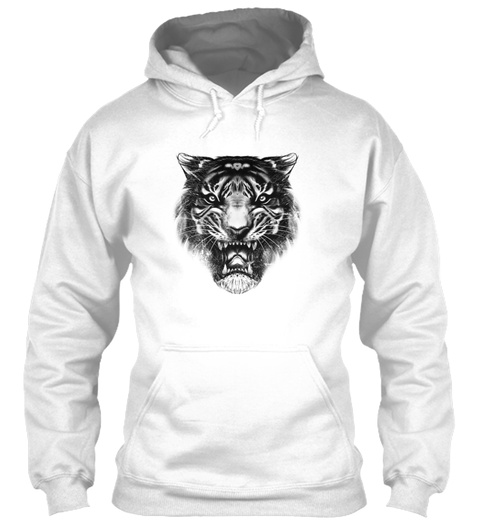 Tiger Cat Feline Animal White T-Shirt Front
