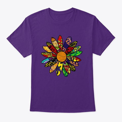 Afro Flower Purple T-Shirt Front