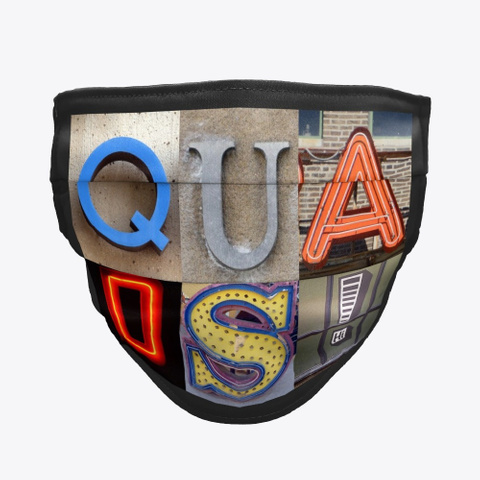 Artsy Alphabet   Quads   Face Mask Black T-Shirt Front