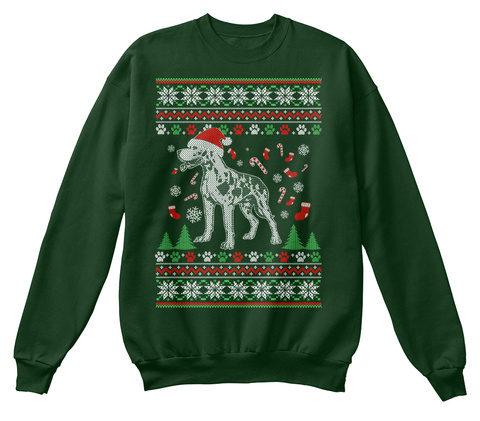 Ugly Great Dane Christmas Sweater Deep Forest  T-Shirt Front