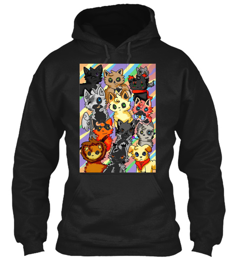 Cats Poster Black T-Shirt Front