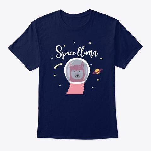 Space Llama Shirt Llama Gifts Galaxy Navy T-Shirt Front