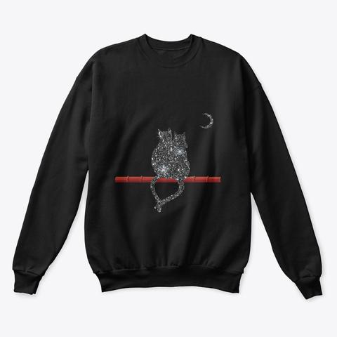 Cat Snow Christmas Black T-Shirt Front