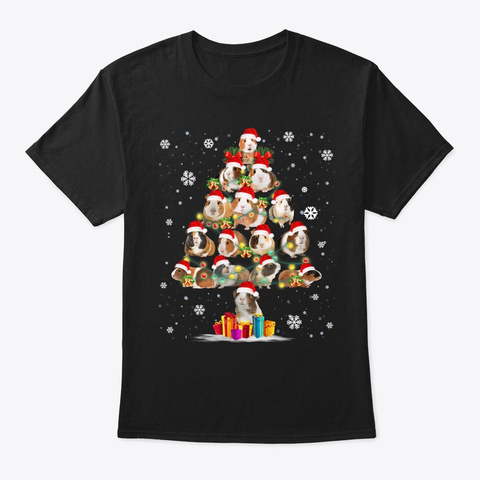 Funny Guinea Pig With Christmas Tree Hat Black T-Shirt Front