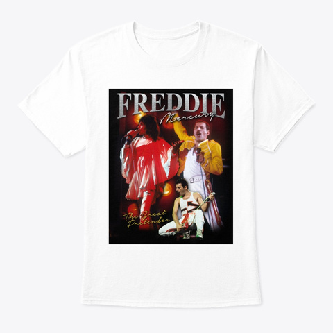 Freddie Mercury Official The Great Pretender Homage White T-Shirt Front