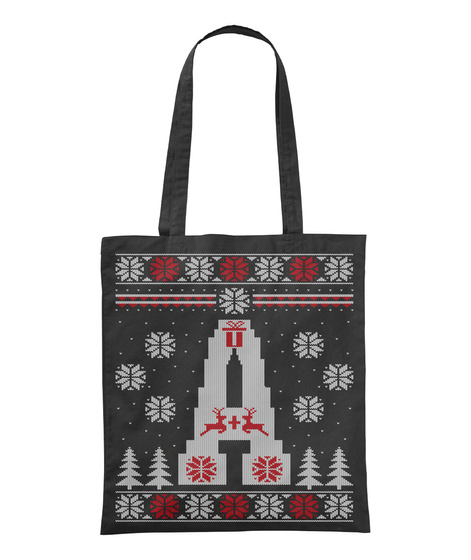 Letter A   Ugly Christmas Tote Bag Black T-Shirt Front