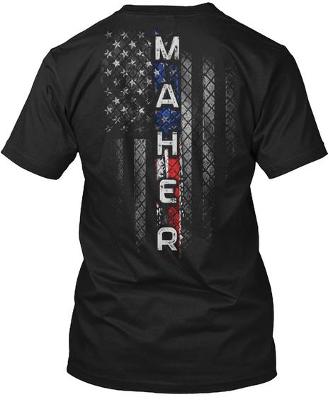 Maher Family American Flag Black T-Shirt Back