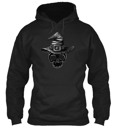 Witches Hat Skull Halloween Black Sweatshirt Front