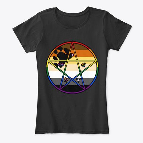 Queer Pentagram Bear Black T-Shirt Front