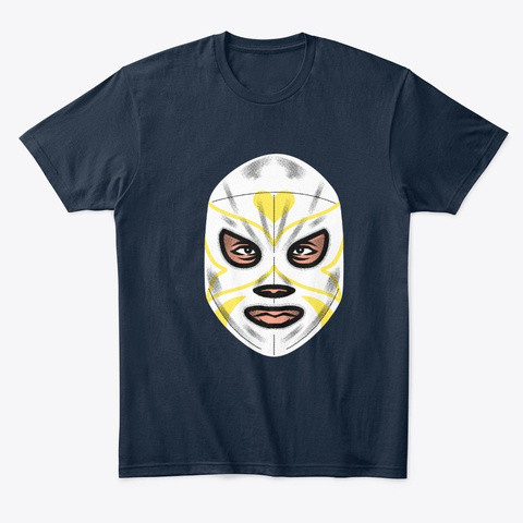 Wrestling Graphic Mask New Navy T-Shirt Front
