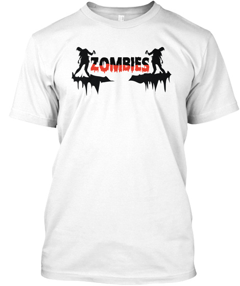 Halloween Zombies Tshirt White T-Shirt Front