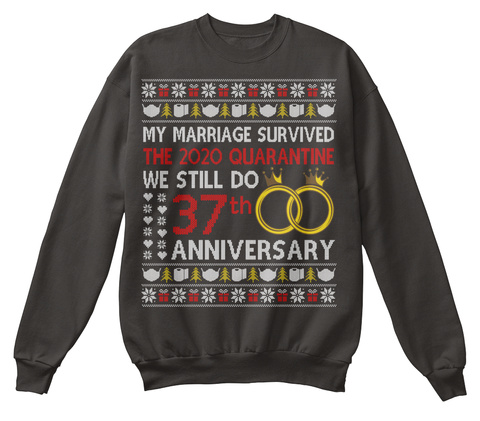 37th Anniversary Ugly Christmas Sweater Jet Black T-Shirt Front