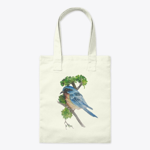 Art Painted Bird Sitting On A Branch Natural T-Shirt Front