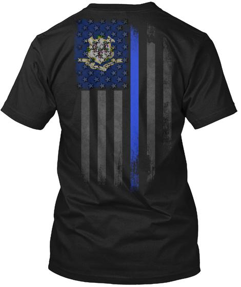 Connecticut Thin Blue Line Onyx Black T-Shirt Back
