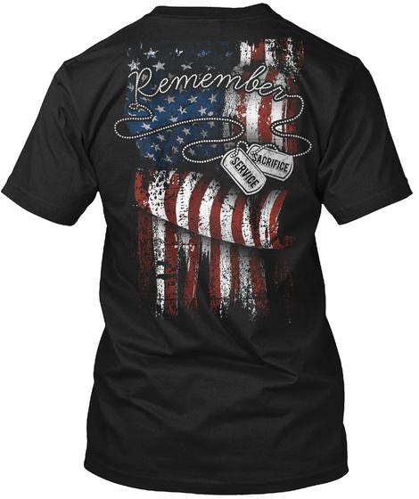 Remember Sacrifice Service Black T-Shirt Back