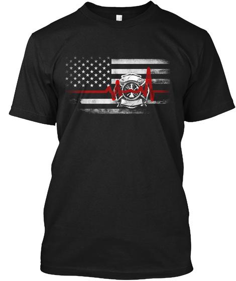 Firefighter Pulse Black T-Shirt Front