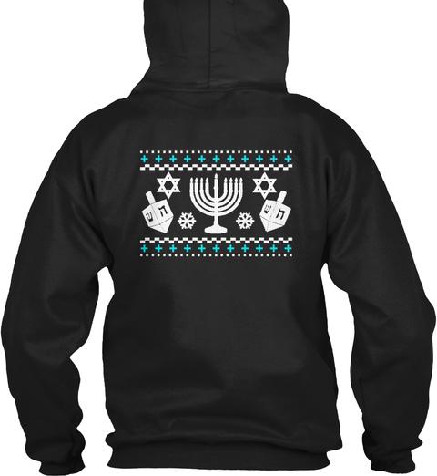 Funny Hanukkah Ugly Holiday Sweater Black Sweatshirt Back