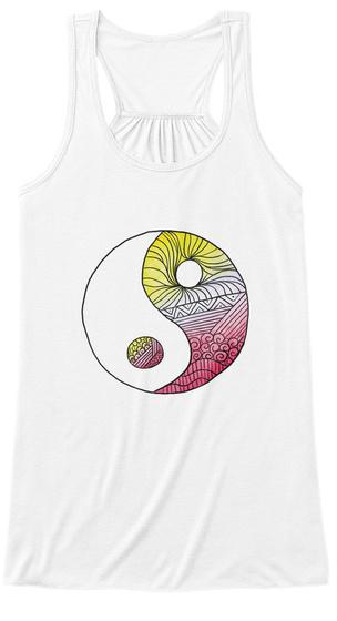 Yoga Yin Yang Tank Top White T-Shirt Front