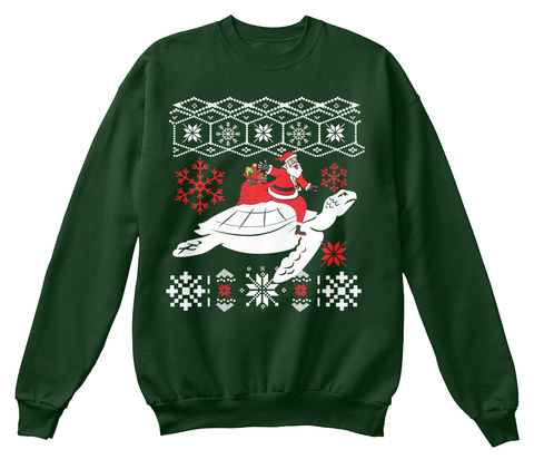 Lovely Turtle Ugly Christmas Sweater Deep Forest  T-Shirt Front