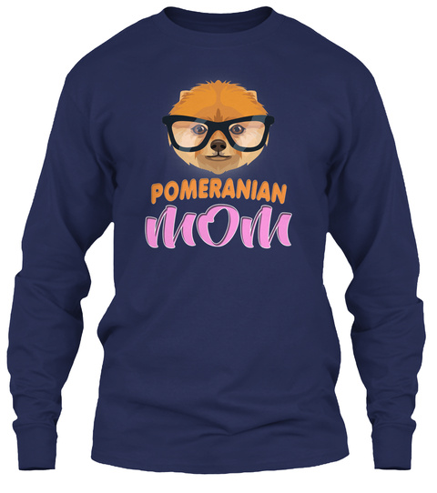 Pomeranian Hipster Glasses Mom Navy T-Shirt Front