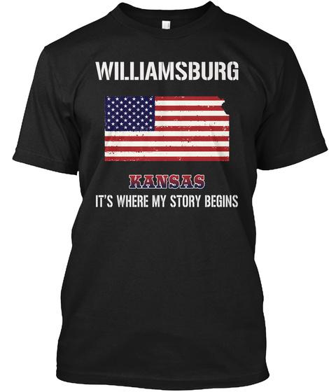 Williamsburg Ks   Story Begins Black T-Shirt Front