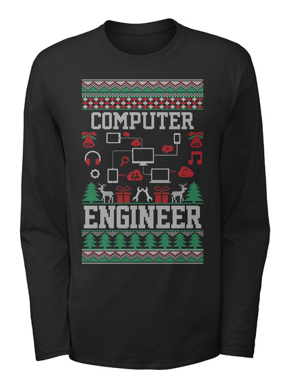 Computer Engineer Black T-Shirt Front