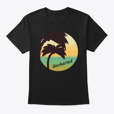 Uncharted Palm Trees Black T-Shirt Front