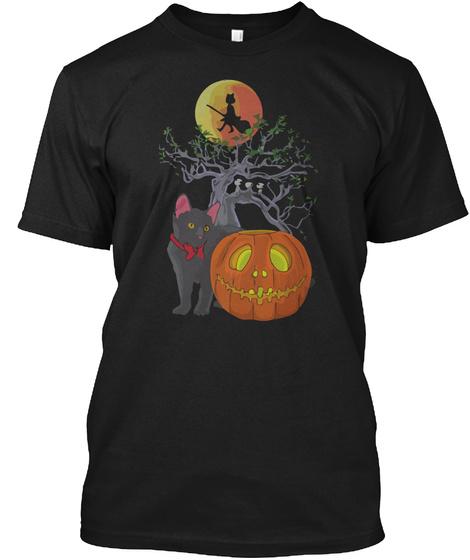 Cat Halloween Black T-Shirt Front