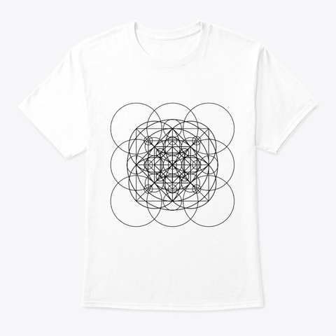 Sacred Geometry Orange Squared Circles B White T-Shirt Front