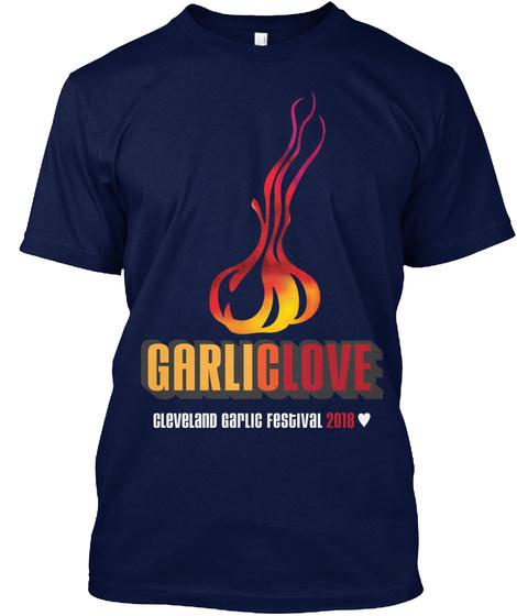 Garliclove Cleveland Garlic Festival 2018 Navy T-Shirt Front