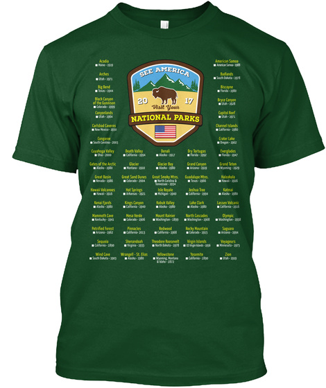 See America 20 Visit Your 17 National Parks Deep Forest T-Shirt Front