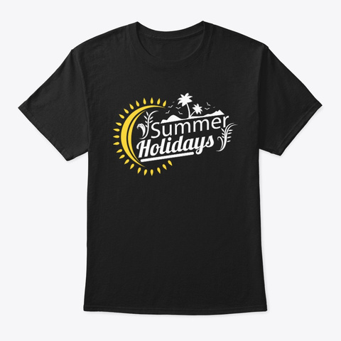 Summer Holidays Black T-Shirt Front