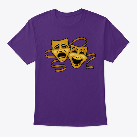 Gold Comedy And Tragedy Theater Masks Purple T-Shirt Front