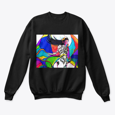 """Oversaturation""   Sweater Black T-Shirt Front"