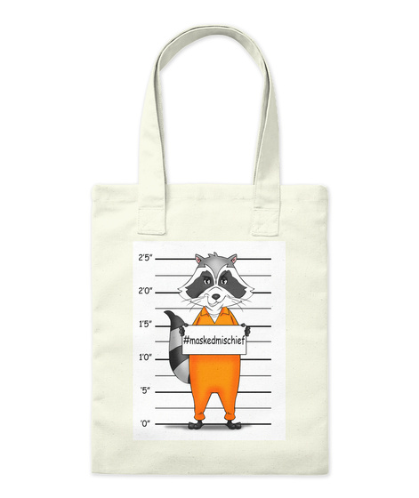 0 .5 1.0 1.5 2.0 2.5 #Maskedmischief Natural Tote Bag Front