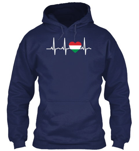 I Love Ekg Heartbeat Ungarn Hungary Navy T-Shirt Front