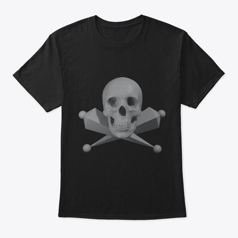 Skull And Rigging Bones Black T-Shirt Front