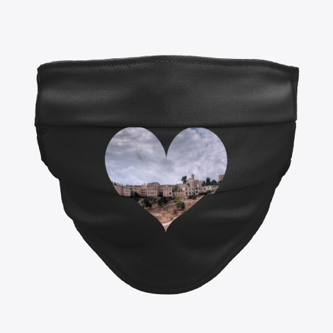 Gaza Sights In A Heart غزة Black T-Shirt Front