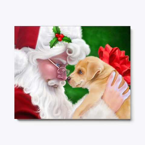 Holiday Scene Santa And Christmas Puppy  Black T-Shirt Front