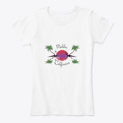 Malibu Beach California White T-Shirt Front