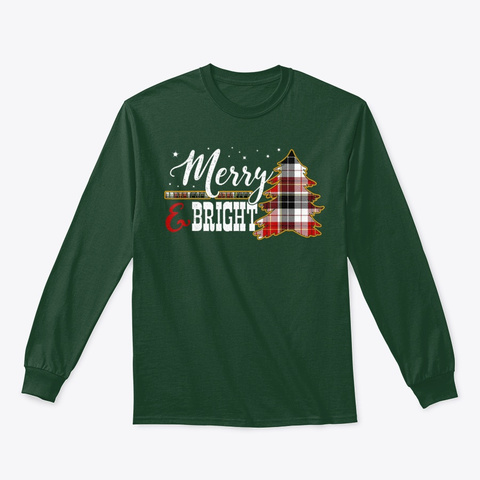 Merry Bright Family Christmas Tree Forest Green T-Shirt Front